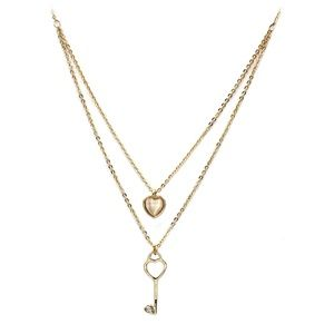 Gold duplexes lovely heart key necklace